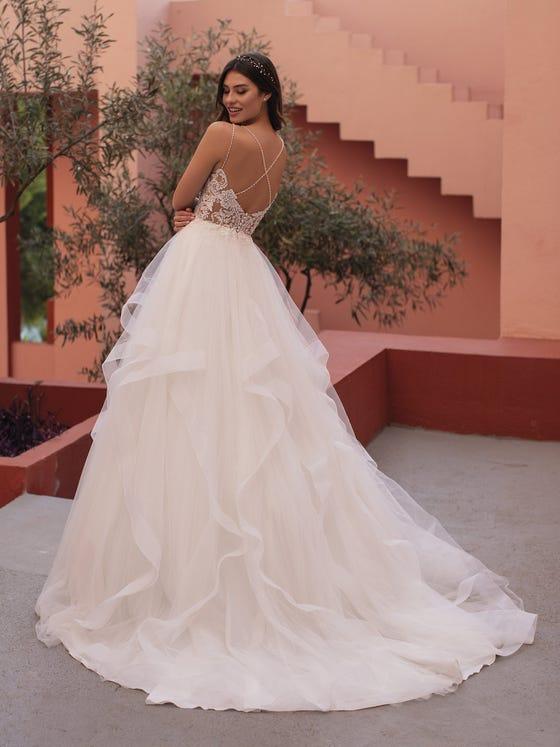 parte delantera vestido novia corte princesa tirantes tejido tul bordado rina