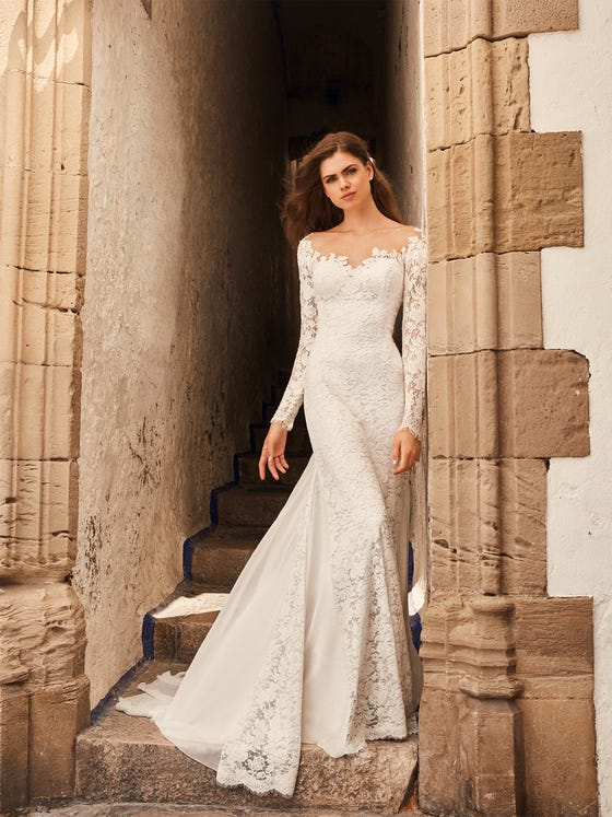 front mermaid silhouette wedding dress tattoo effect back long sleeves tay